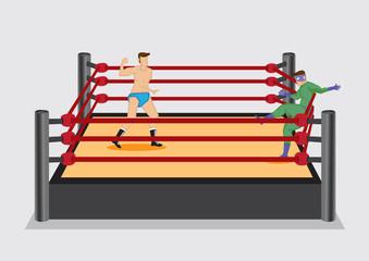 Wrestler Punches Opponent in Wrestling Ring Vector Illustration
