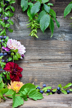 buntes HebstLaub auf altem Holz Hintergrund