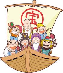 宝船と七福神のイラスト素材