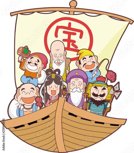 宝船と七福神のイラスト素材 Stock Image And Royalty Free Vector