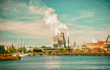 Industrial Paper Mill on a Harbor