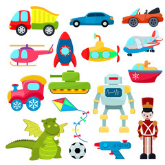 Kids toys vector cartoon games helicopter or ship submarine for children and playing with boys car or train illustration boyish set of robot and dinosaur in playroom isolated on white background