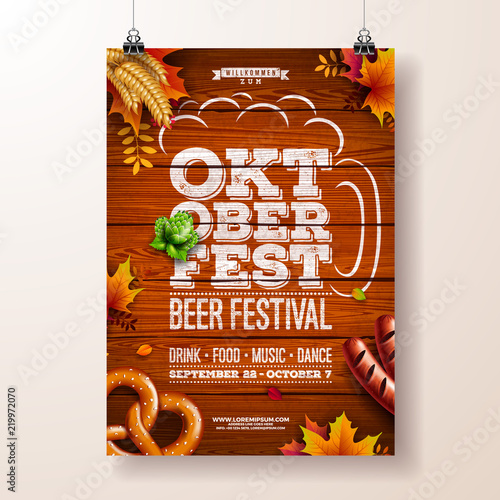 oktoberfest poster vector illustration with typography letter pretzel sausage and falling autumn leaves on