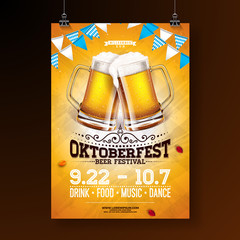 Oktoberfest party poster illustration with fresh lager beer and blue and white party flag on shiny yellow background. Vector celebration flyer template for traditional German beer festival.