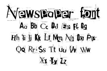 Newspaper font alphabet