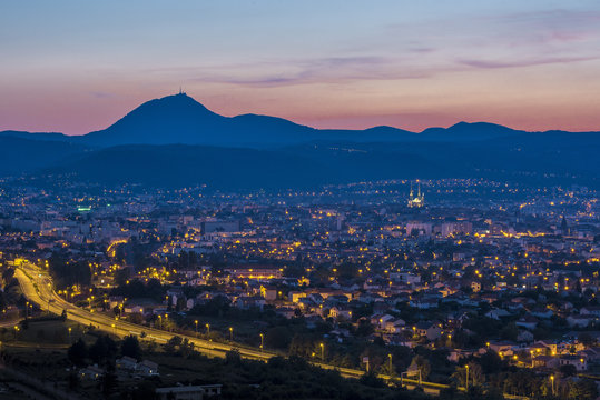 France, Center France, Clermont-Ferrand, Chaine des Puys at sunset