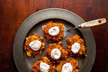 Hanukkah,  Apple Potato Latkes with Cinnamon Sour Cream