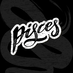 Pisces lettering Calligraphy Brush Text horoscope Zodiac sign