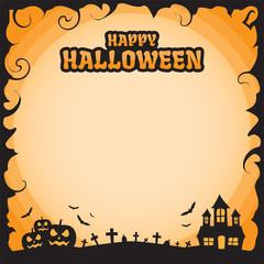 Happy halloween blank frame - Vector