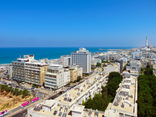 Panorama of the city of Tel-Aviv with new and old districts of the city. Summer of 2018