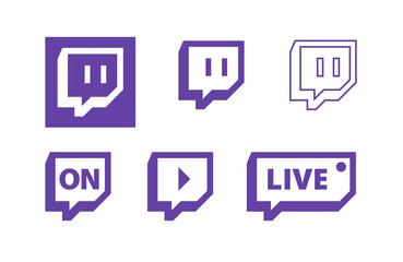 Twitch live gaming video broadcasting symbols, flat vector icon design.