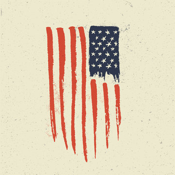 Hand Drawn American Flag. Grunge vintage styled vector illustration.