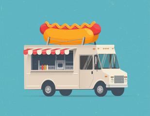 Hot Dog Street Food Truck. Vector