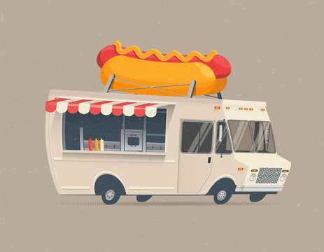 Food Truck Hot Dog. Cartoon styled vector illustration.