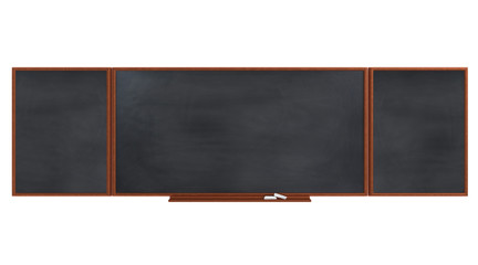 Empty black board (chalkboard) on black wall - 3D rendering isolated on white.