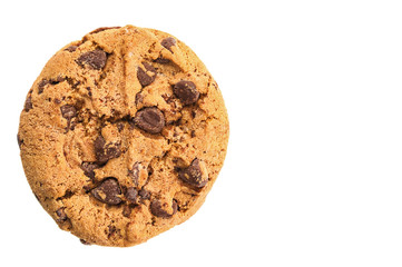 Single cookie close up isolated on white background