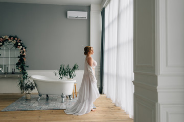 morning of the bride in an apartment with large windows, a great start to the day