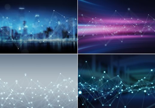 Isolated Four Abstract Network Backgrounds