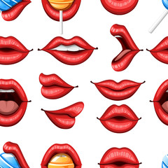 Seamless pattern. Collection of sexy red lips. Biting, kiss, smile, open and close. Lips with lollipop. Colorful icon. Flat vector illustration on white background