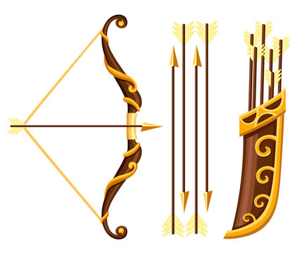 Bow weapon with arrows and quiver. Brown bow with gold ornaments. Wooden quiver. Medieval and fantasy weapon. Flat vector illustration isolated on white background