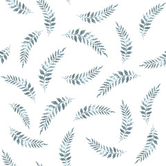 Seamless pattern with branch with leaves isolated on white background.