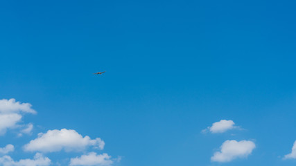 Blue propeller plane background