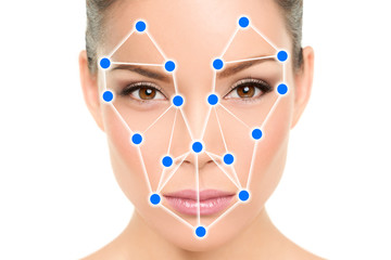 Biometric facial recognition software app technology for face identity verification identification concept. Asian woman portrait wilth blue dots mesh scan illustration graphic design.