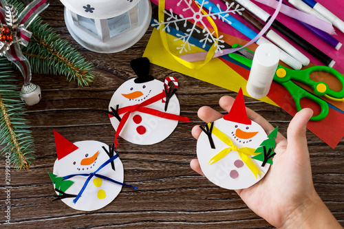 A Child Is Holding Christmas Snowman Merry Gift Handmade Project