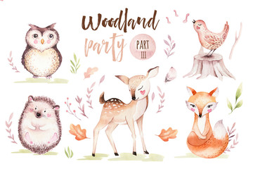 Cute baby fox, deer animal nursery bird and bear isolated illustration for children. Watercolor boho forest drawing, watercolour, hedgehog image nursery posters