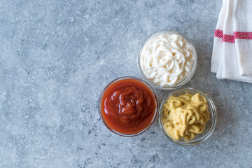 Set of Three Classic Sauce Ketchup, Mayonnaise and Mustard in Small Glass Bowls