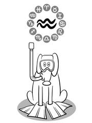 cartoon dog as Aquarius Zodiac sign