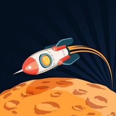 Space rocket flies over the surface of the planet like a moon.