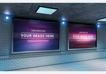 Two Billboards in Underground Subway Station Mockup