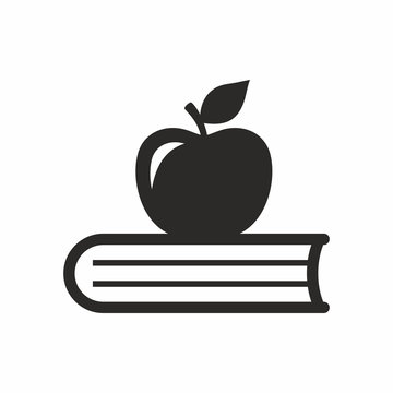 Apple and book vector icon