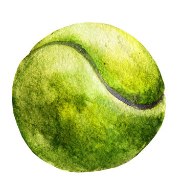 Watercolor sketch of tennis ball on white background.