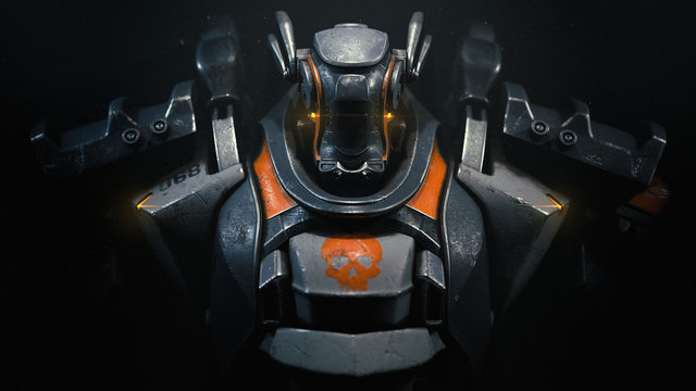 Sci-fi mech soldier on a black background. Military futuristic robot warrior with white and gray color metal. Scratched metal armor robot. Big robot mech with orange paint. Front view. 3D rendering.