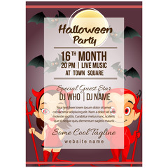 halloween party poster template with little devil