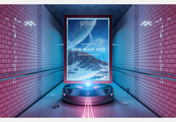 Futuristic Billboard in Undergound Tunnel Mockup
