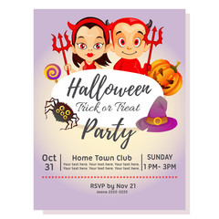 halloween party poster with couple devil