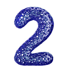 Number 2 two made of blue plastic with abstract holes isolated on white background. 3d