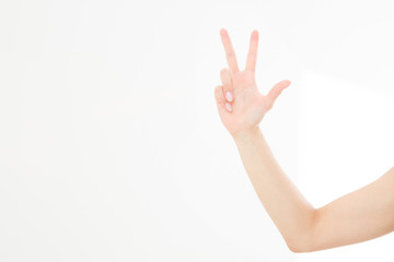hand showing the sign of victory or peace closeup isolated on white background.Front view. Mock up. Copy space. Template. Blank.