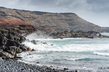 Landscape of volcanic coast of  Lanzarote, Spain