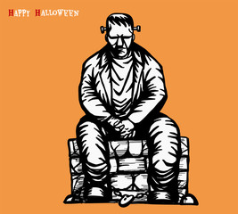 Frankenstein vector tattoo by hand drawing.Frankenstein sit on stone chair.