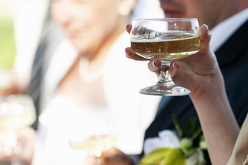 Champagne drinking in wedding