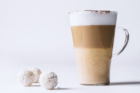 coffee latte with dessert on a white background