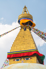 Boudhanath Stupa and prayer flags in Kathmandu