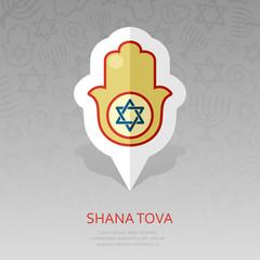 Hamsa hand. Rosh Hashanah pin map icon. Shana tova