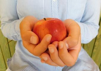 apple, hand, fruit, food, healthy