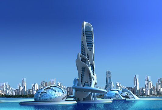 Futuristic city architecture for fantasy and science fiction illustrations