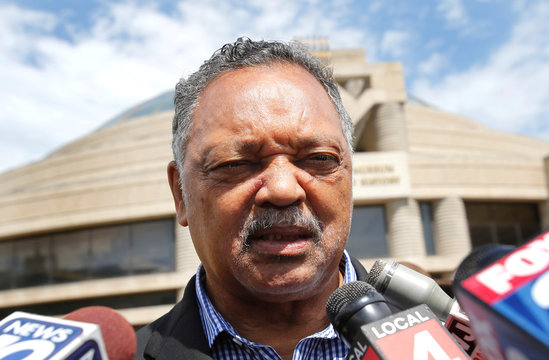 Reverend Jesse Jackson talks to the media outside the Charles H. Wright African American Museum where the late singer Aretha Franklin will lie in state for two days of public viewing in Detroit,